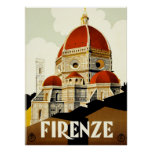 Vintage Travel Firenze Italy Print Print