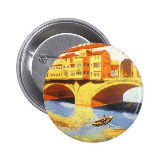 Vintage Travel Florence Firenze Italy Bridge River 6 Cm Round Badge