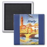 Vintage Travel Florence Firenze Italy Bridge River Square Magnet