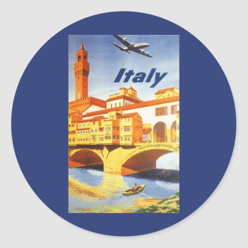 Vintage Travel Florence Firenze Italy Bridge River Round Sticker