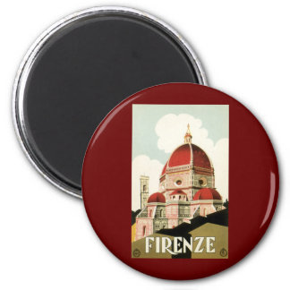 Vintage Travel Florence Firenze Italy Church Duomo 6 Cm Round Magnet
