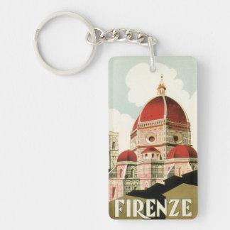 Vintage Travel Florence Firenze Italy Church Duomo Double-Sided Rectangular Acrylic Key Ring