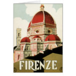 Vintage Travel Florence Firenze Italy Church Duomo Greeting Card