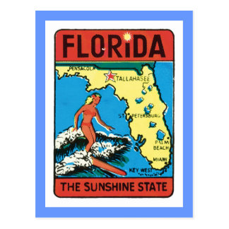 Vintage Travel Florida FL State Label Postcard
