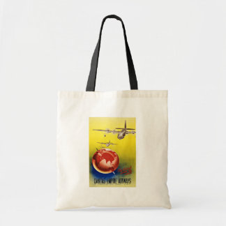 Vintage Travel Fly Britsh Across The World Budget Tote Bag
