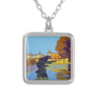 Vintage Travel Fontainebleau Paris France Silver Plated Necklace