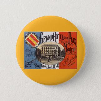 Vintage Travel, Grand Hotel Paix, Madrid, Spain 6 Cm Round Badge