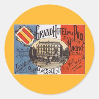 Vintage Travel, Grand Hotel Paix, Madrid, Spain Round Sticker