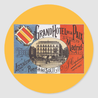 Vintage Travel Grand Hotel Paix Madrid Spain Stickers