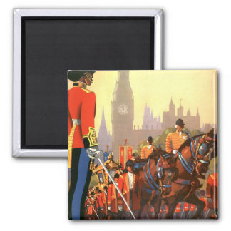 Vintage Travel, Great Britain England, Royal Guard Square Magnet