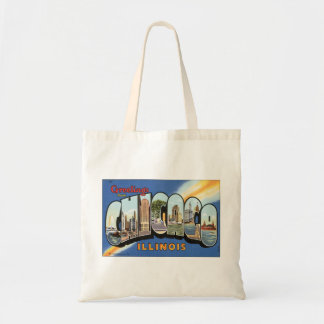 Vintage Travel, Greetings from Chicago Illinois Tote Bag