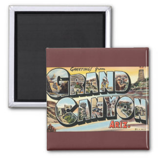 Vintage Travel Greetings from Grand Canyon Arizona Square Magnet