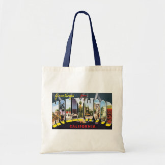 Vintage Travel Greetings from Hollywood California Budget Tote Bag