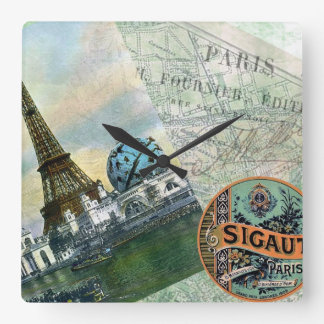Vintage Travel in Paris Wallclocks