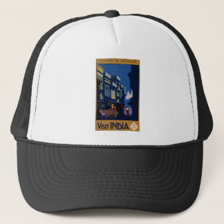 Vintage Travel India A Street By Moonlight Trucker Hat