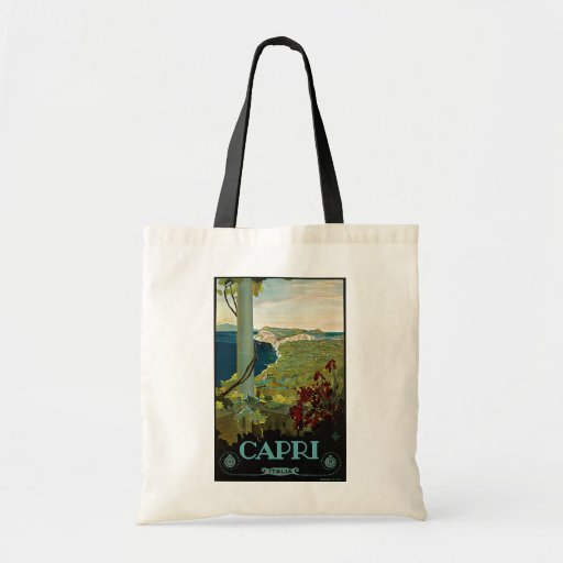 Vintage Travel, Isle of Capri, Italy Italia Coast Budget Tote Bag
