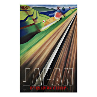 Vintage Travel Japan Railways Poster