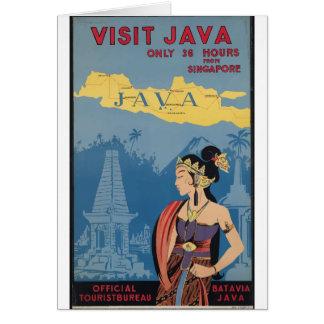 Vintage Travel Java Indonesia Card