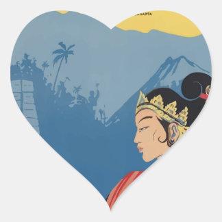 Vintage Travel Java Indonesia Heart Sticker