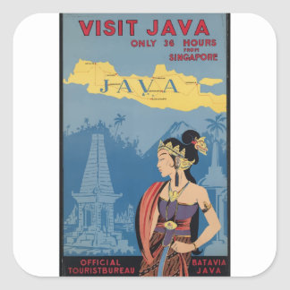 Vintage Travel Java Indonesia Square Sticker