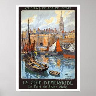 Vintage Travel Le Port de Saint Malo France Poster