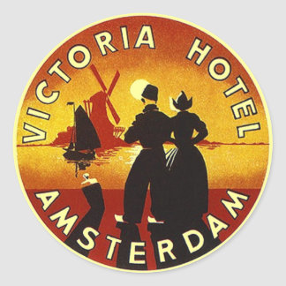 Vintage Travel Luggage Stickers Vi Hotel Amsterdam