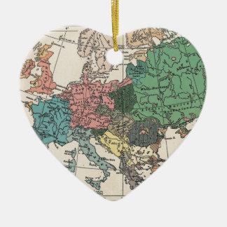 Vintage Travel Map Ceramic Heart Decoration