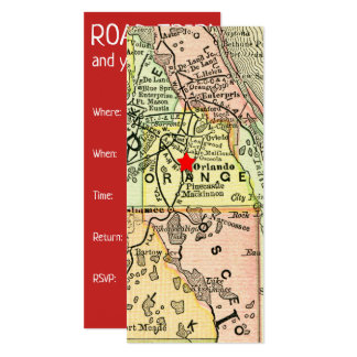 Vintage Travel Map Orlando Movable Red Star Card