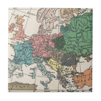 Vintage Travel Map Small Square Tile
