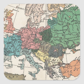 Vintage Travel Map Square Sticker