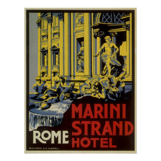 Vintage Travel, Marini Strand Hotel, Rome, Italy Poster