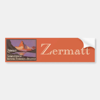 Vintage Travel, Matterhorn Mountain in Switzerland Bumper Sticker
