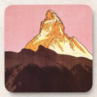 Vintage Travel, Matterhorn Mountain, Switzerland Beverage Coaster
