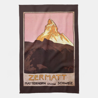Vintage Travel, Matterhorn Mountain, Switzerland Tea Towel