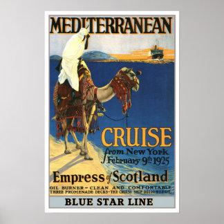 Vintage travel,Mediterranean Cruise Poster