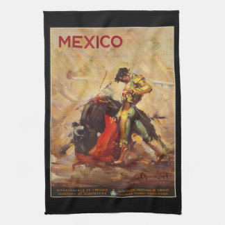Vintage Travel Mexico Bull Fighting Matador Tea Towel