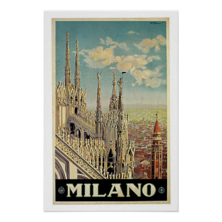 Vintage Travel,Milano Italy Poster