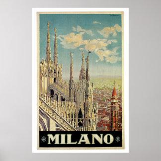 Vintage Travel Milano Milan Italy Poster
