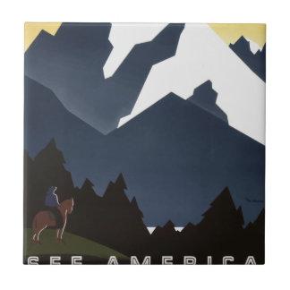 Vintage Travel Montana America USA Ceramic Tile