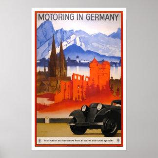 Vintage travel,Motoring in Germany. Poster