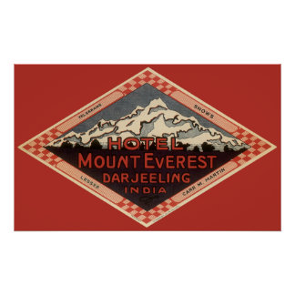 Vintage Travel, Mount Everest, Darjeeling India Poster