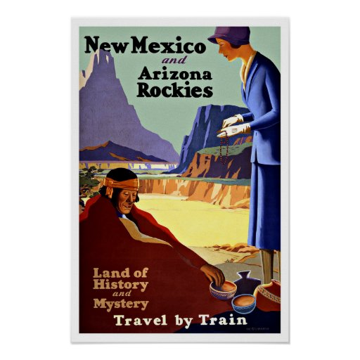 Vintage Travel New Mexico and Arizona Rockies Poster