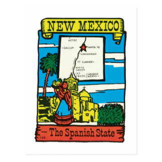 Vintage Travel New Mexico NM State Label Postcard