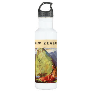 Vintage Travel, New Zealand Landscape Native Woman 710 Ml Water Bottle