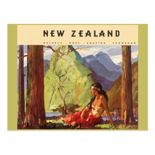 Vintage Travel, New Zealand Landscape Native Woman Post Cards