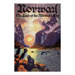 Vintage Travel, Norway Fjord Land of Midnight Sun Poster