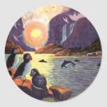 Vintage Travel, Norway Fjord Land of Midnight Sun Classic Round Sticker