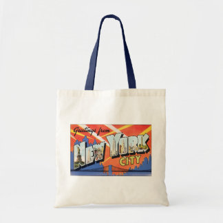 Vintage Travel NYC, Greetings from New York City Budget Tote Bag