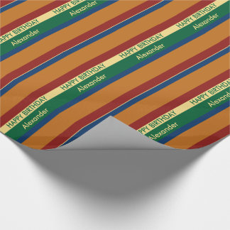Vintage Travel Palette Stripe Personalized Wrapping Paper