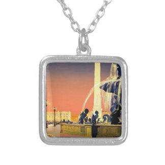 Vintage Travel Paris France Silver Plated Necklace